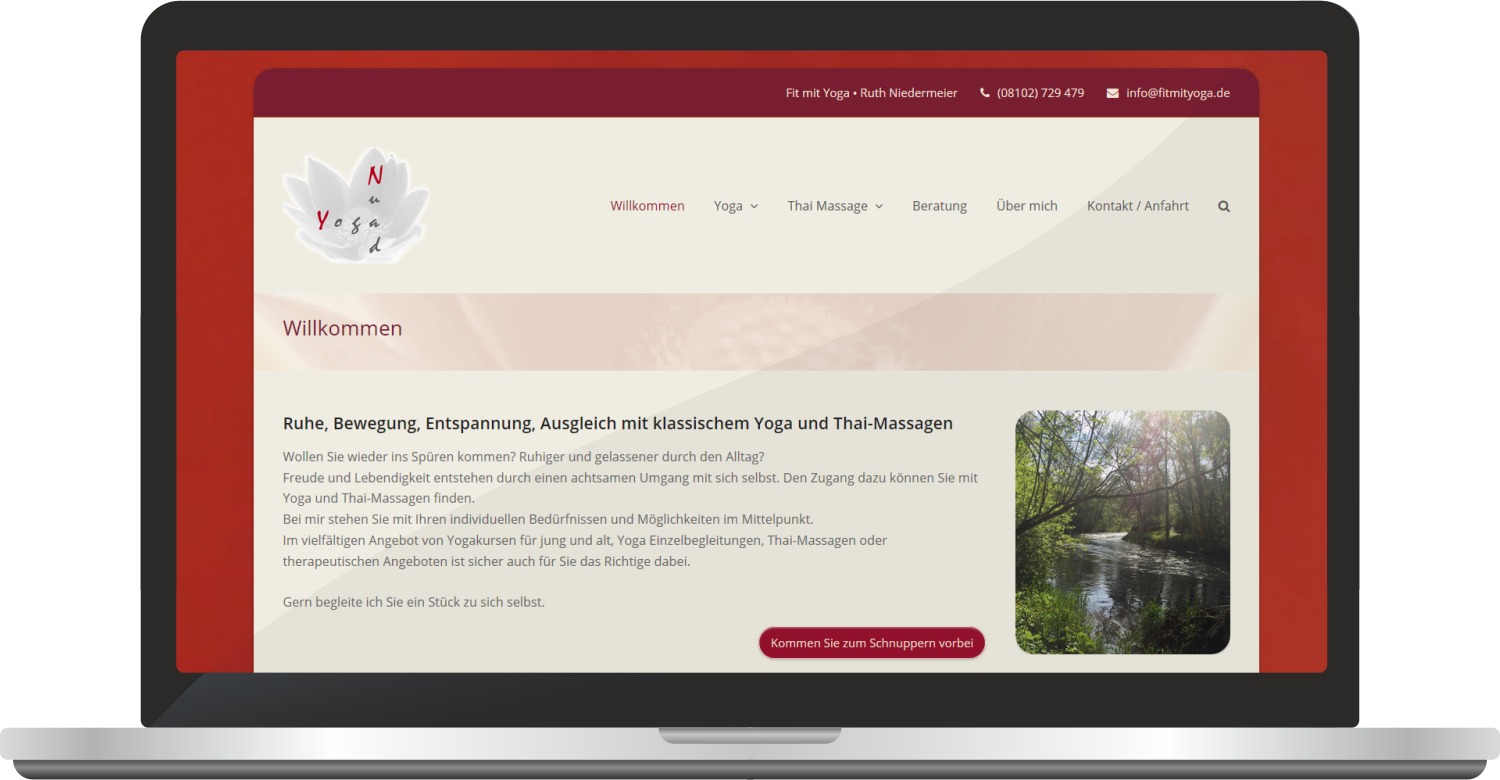 "Webdesign ""Fit Mit Yoga"" – Ruth Niedermeier"