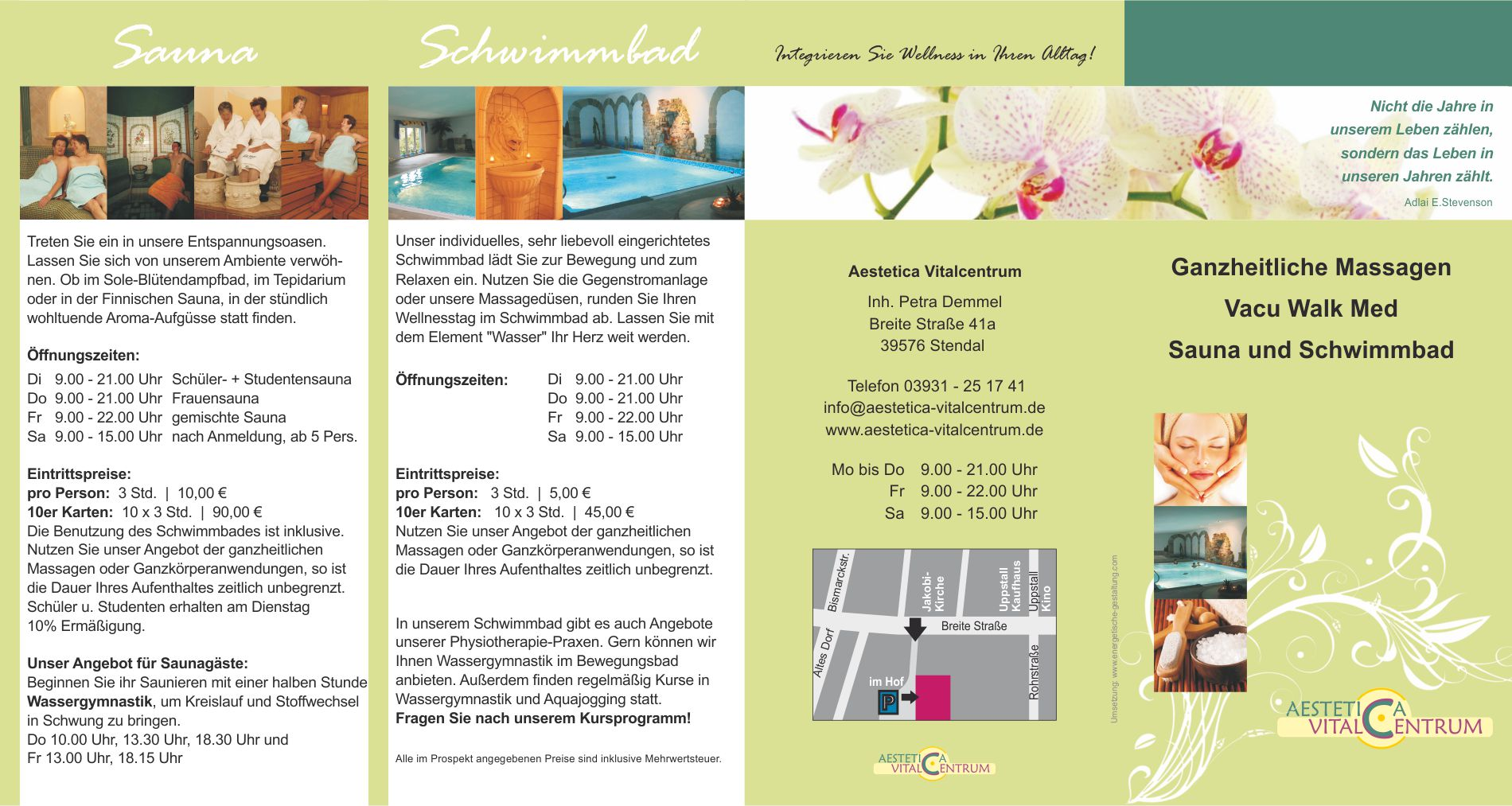 Print – Flyer Aestetica Vitalcentrum, Massagen